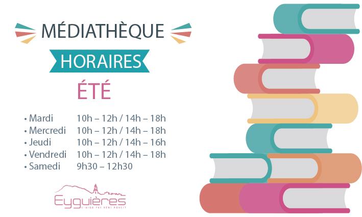 HORAIRES D'ÉTÉ MÉDIATHÈQUE <br> 05/07/21