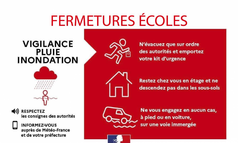 FERMETURES ÉCOLES : Alerte rouge <br> 04/10/21